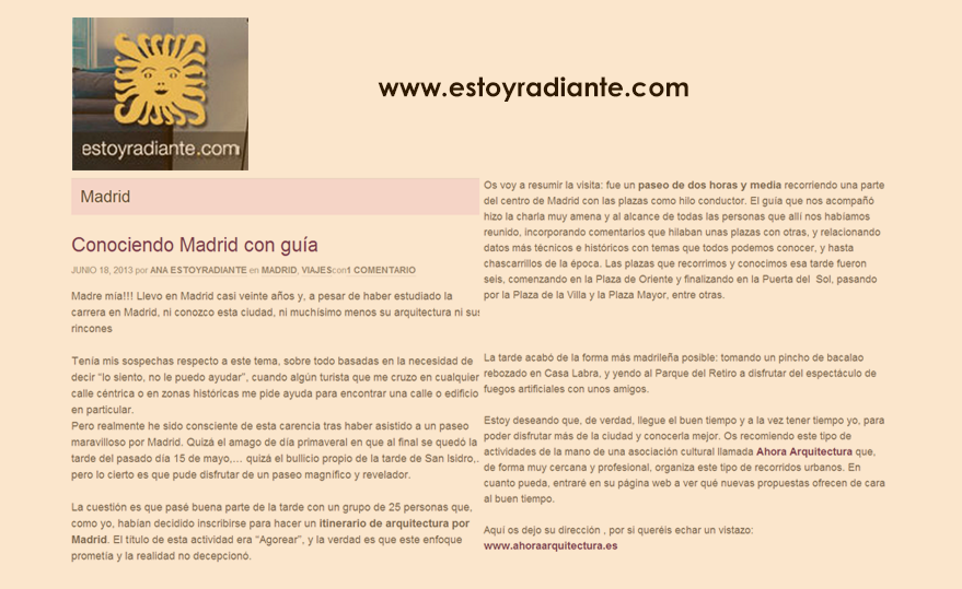 """AhoraArquitectura en """"Estoy Radiante"""""""